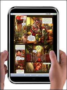 the hypothetical iTablet displaying a comic book