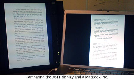 X61T vs. MacBook Pro Display