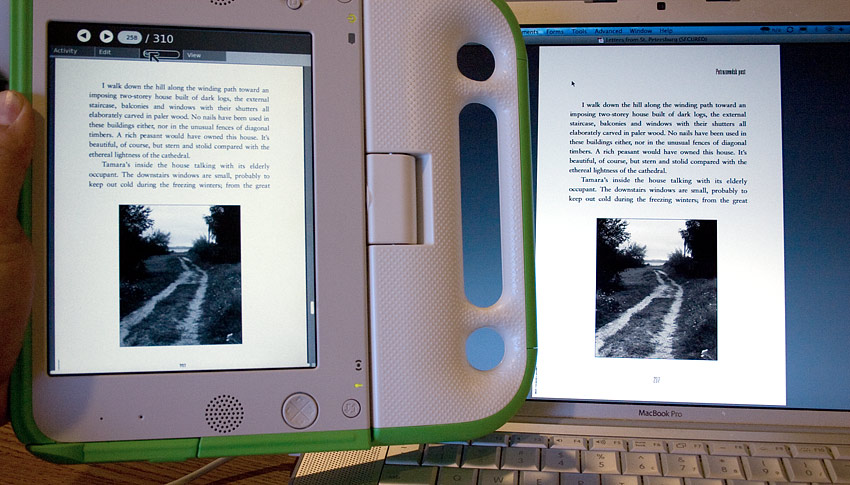 Kindle Vs Sony Reader: XO Laptop As PDF EBook Reader: A First Look